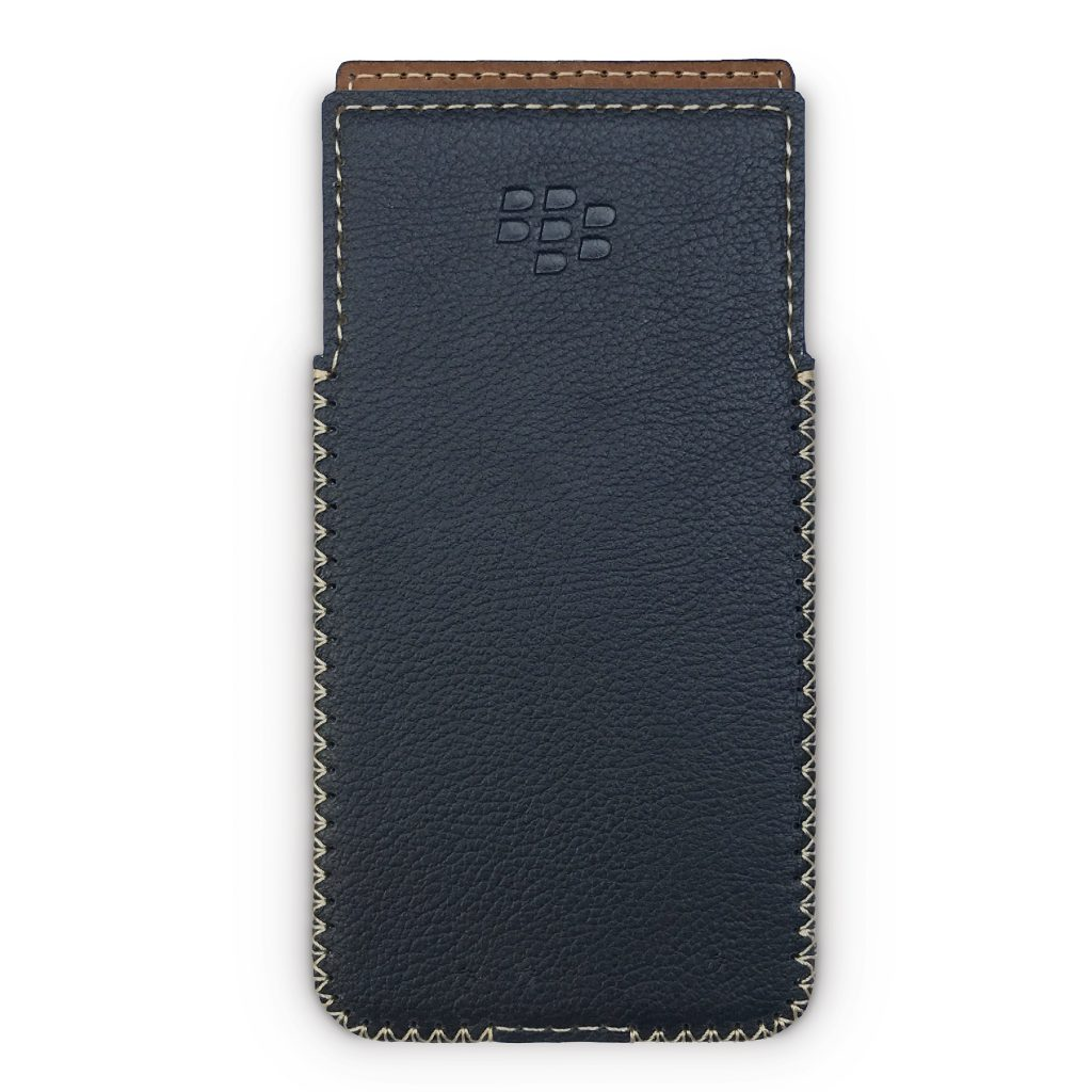 Blackberry KeyOne Handmade Leather Case with Built-in Holster - Dot Black
