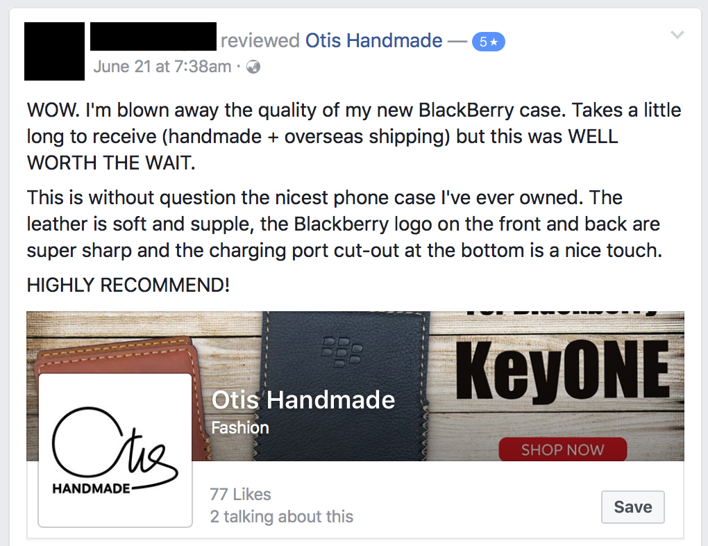 Blackberry KeyOne Leather Case Review by facebook user