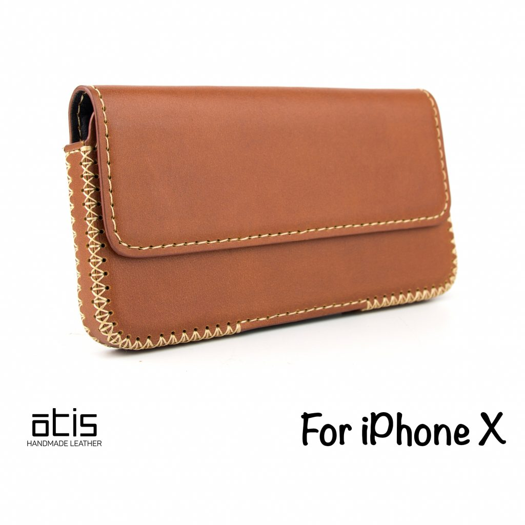 OTIS iPhone X Handmade Leather Case Horizontal with Belt-Loop