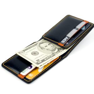 OTIS Minimalism Genuine Black Leather Bi-fold Wallet - 100% Handmade - B11