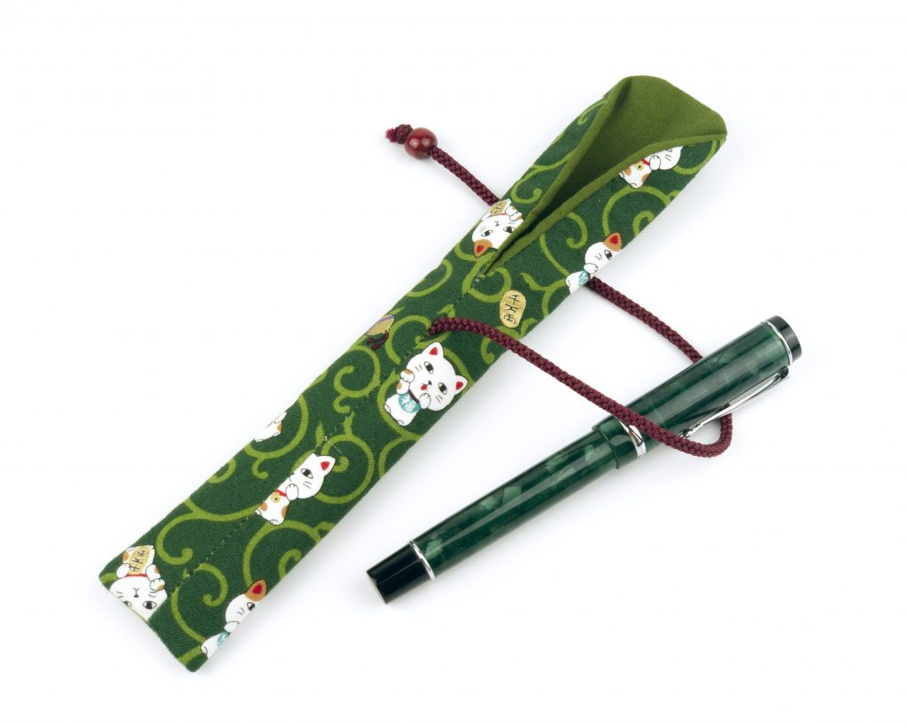 OTIS Cat Green Forest Fabric Fountain Pen Holder