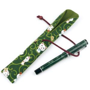 OTIS Cat Green Forest Fabric Fountain Pen Holder